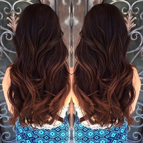 22 dark brown hair with reddish brown balayage highlights