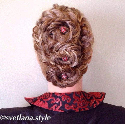 22 three braided flowers updo with fishtail braids
