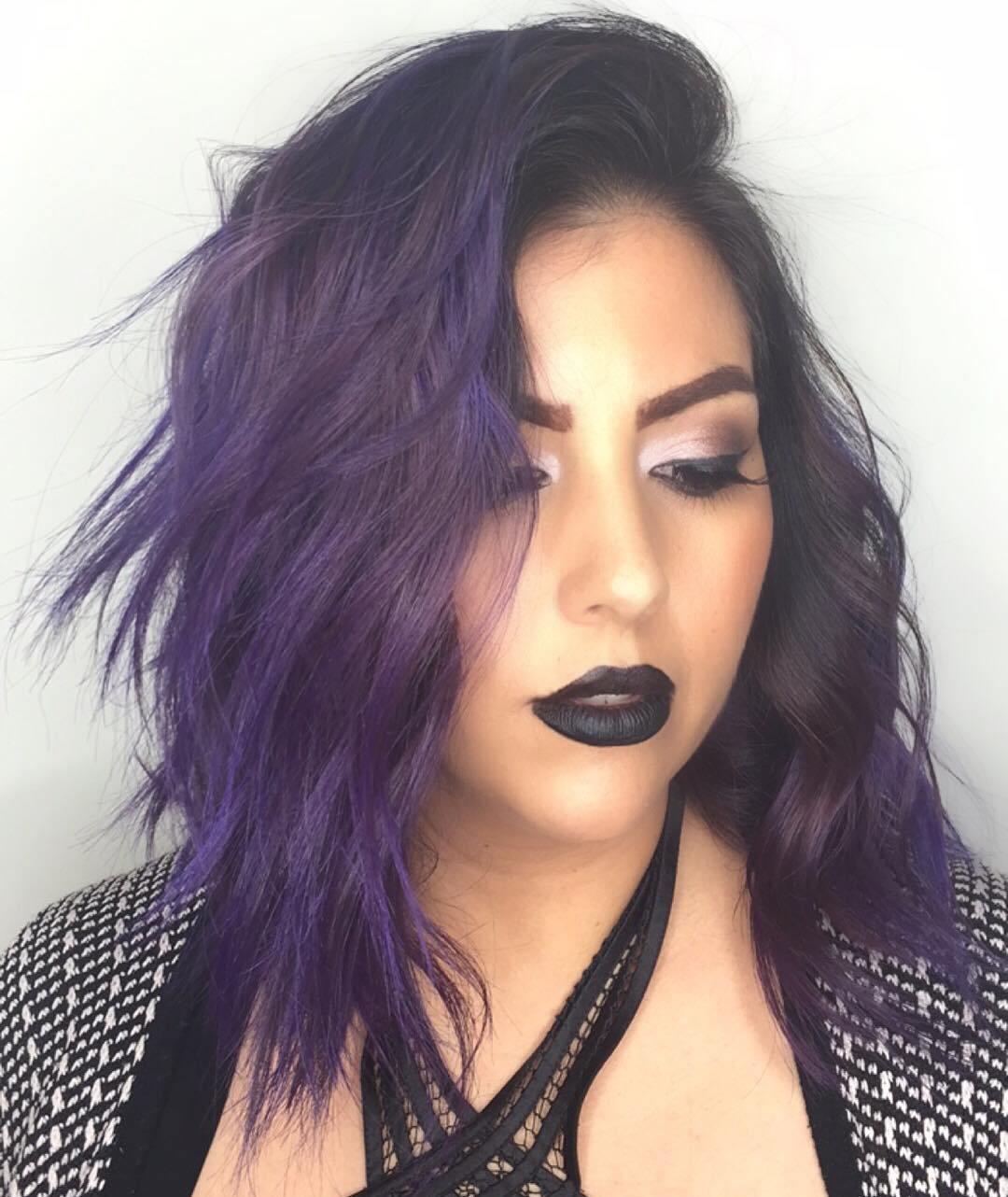 23 medium layered purple hair