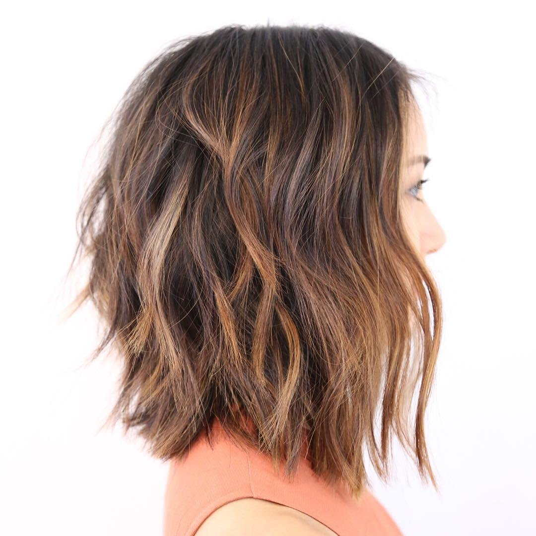 23 shaggy brown balayage lob