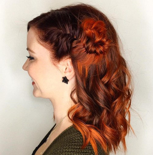23 side fishtail knot half up hairstyle