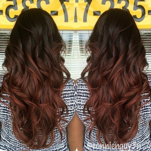 24 dark brown to reddish brown ombre
