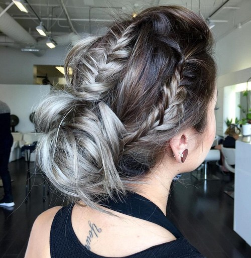 24 messy bun updo with three fishtails