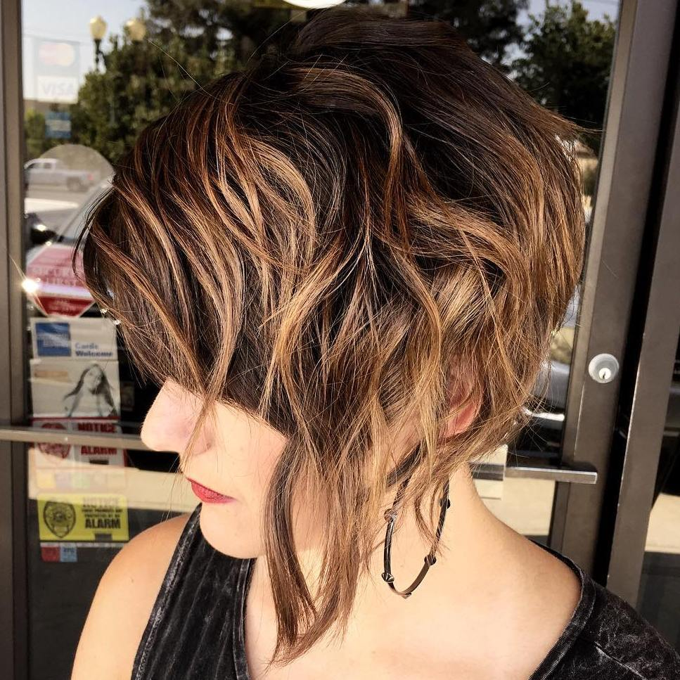 24 short asymmetrical wavy hairstyle