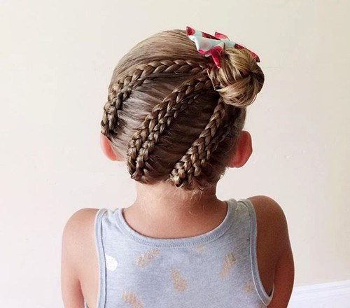 26 braids into bun girls hairstyle