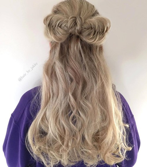 27 half updo with fishtailed bow