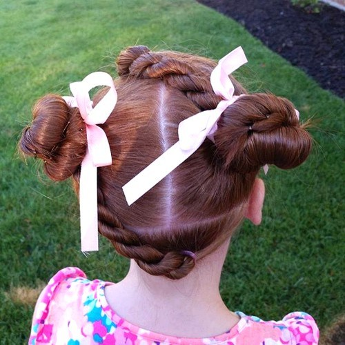 27 little girls twists and knots hairstyle
