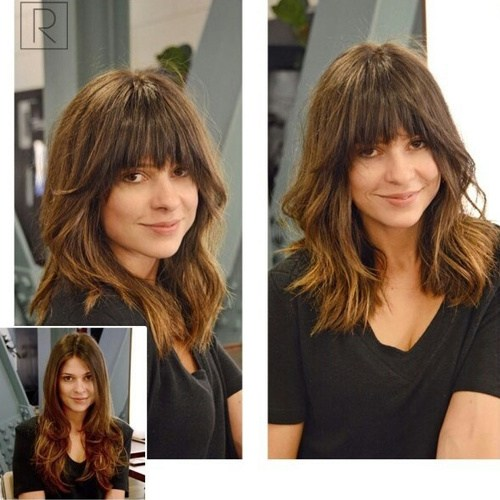 28 lob haircut with arched bangs