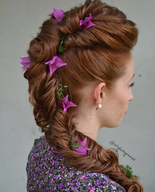 29 formal fishtail hairstyle with hair flowers
