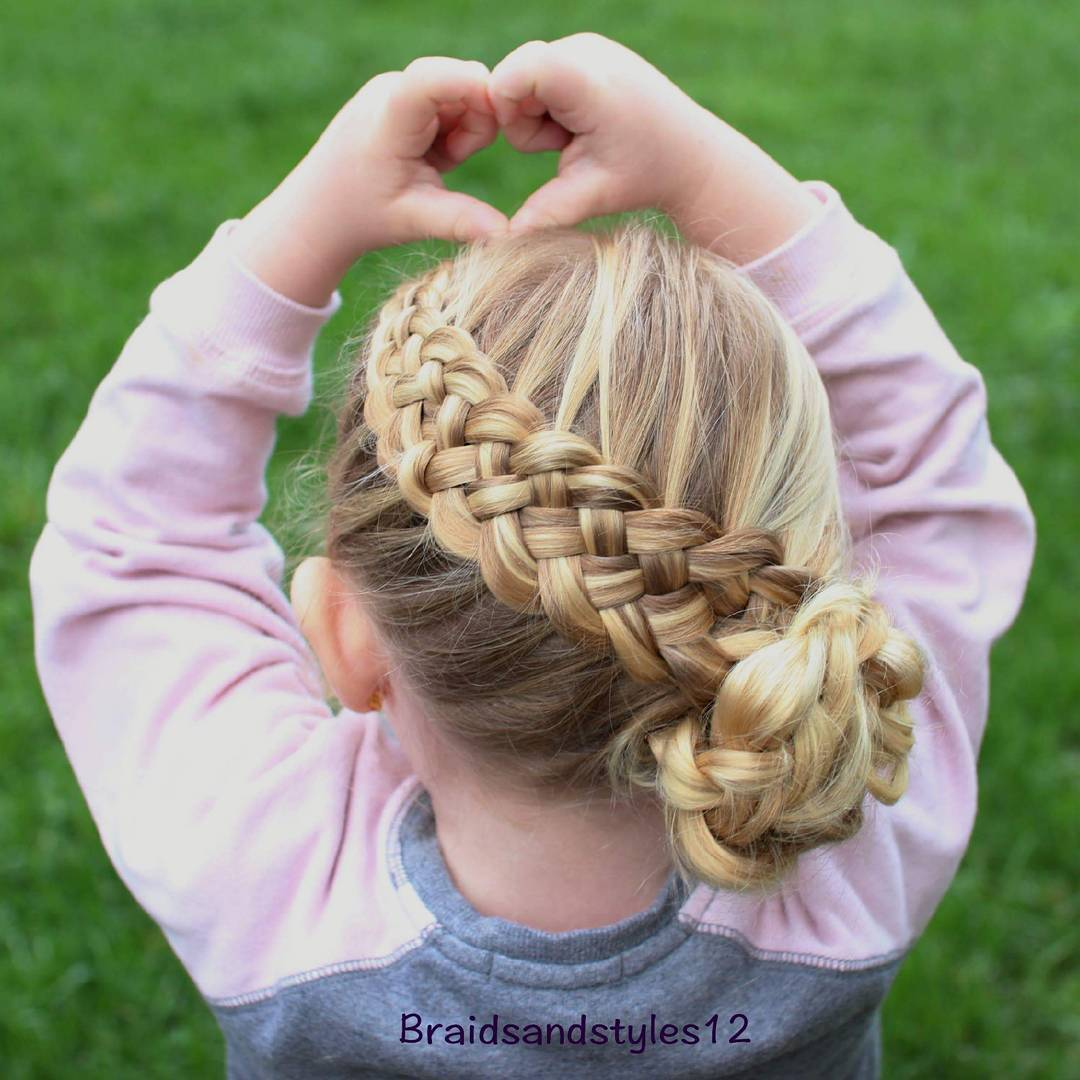 3 basket weave braid for little girls
