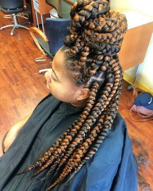 3 half updo for twotone big box braids