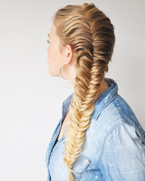3 side french fishtail for long hair