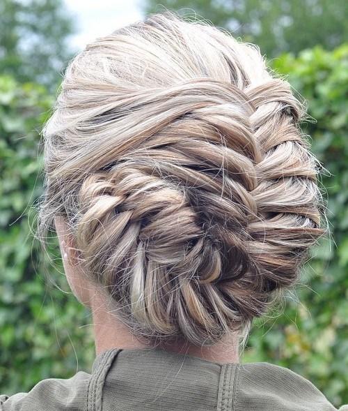 30 asymmetrical blonde fishtail updo