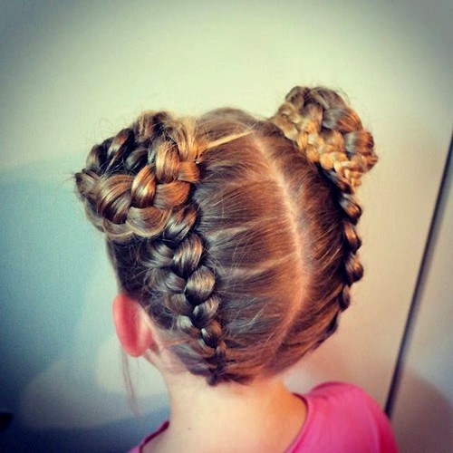 30 braids and buns little girls hairstyle