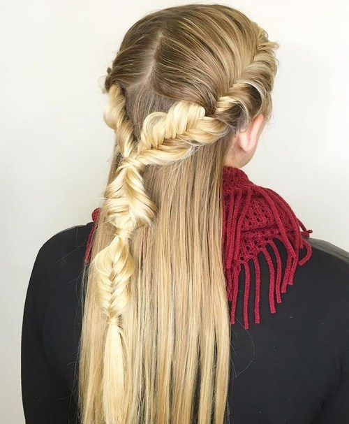 31 creative half up hairstyle with fishtail braid