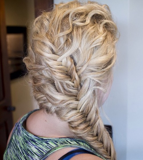 34 curly blonde hairstyle with two fishtails