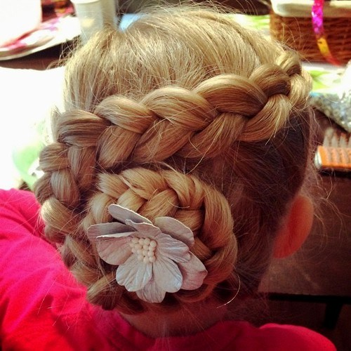 36 swirl braid updo for little girls
