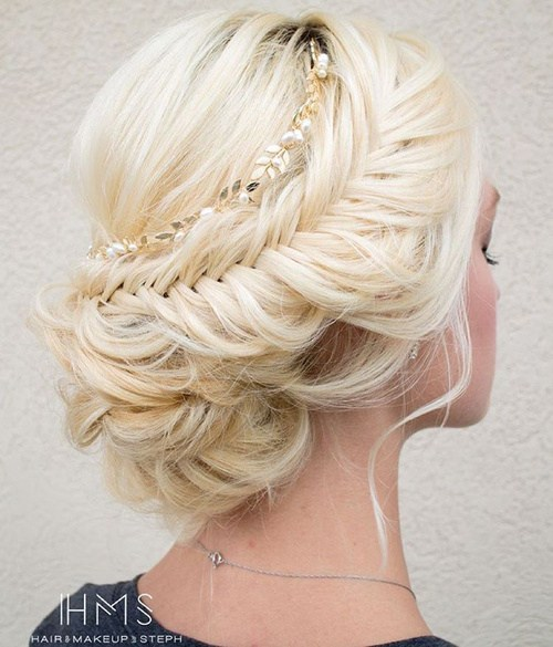 37 messy blonde updo with fishtail braid