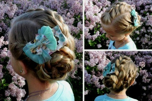 38 three braids into low bun girls hairstyle