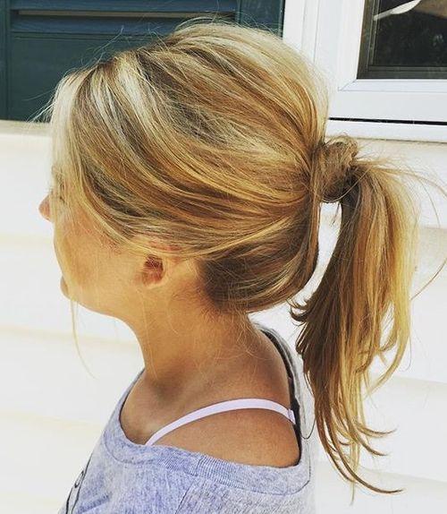 39 tousled ponytail for medium hair