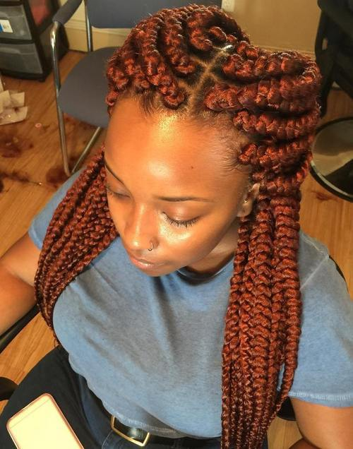 4 copper red big box braids