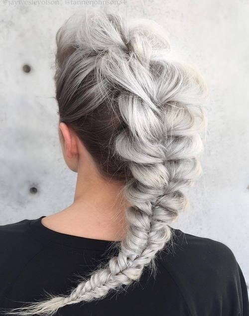 4 gray messy mohawk braid