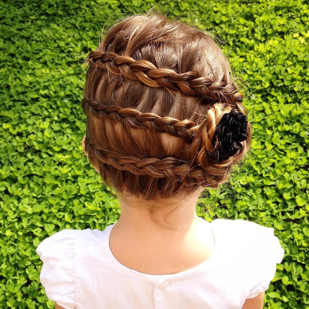 4 three braids updo for kids