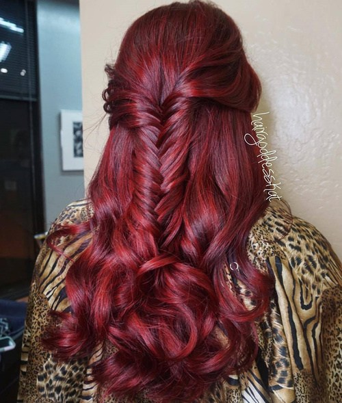 40 simple half up fishtail braid hairstyle