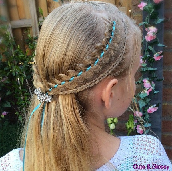 5 half up hairstyle with ribbon braids