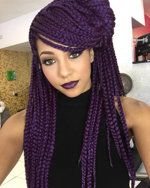 5 purple long box braids hald updo