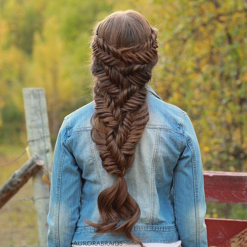 6 fishtail downdo for long hair