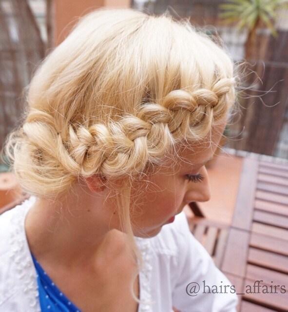 6 side braid messy blonde updo