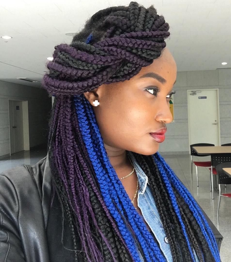 6 side twist for colorful box braids
