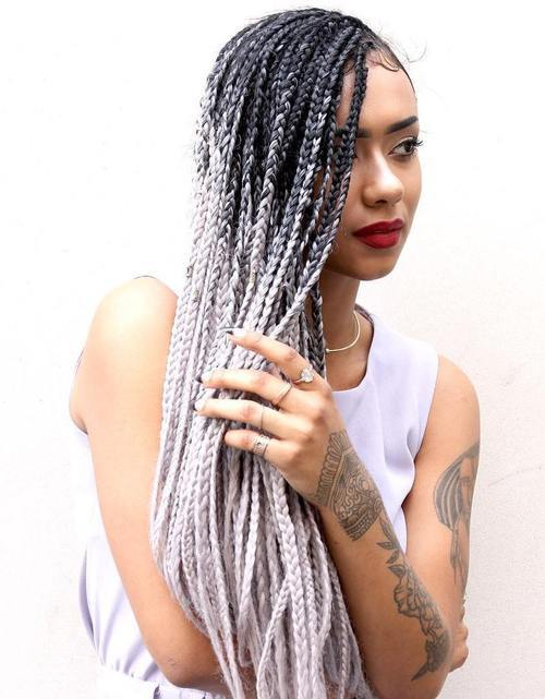 7 black to blonde ombre long box braids