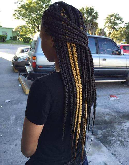 7 half up big box braids with highlights