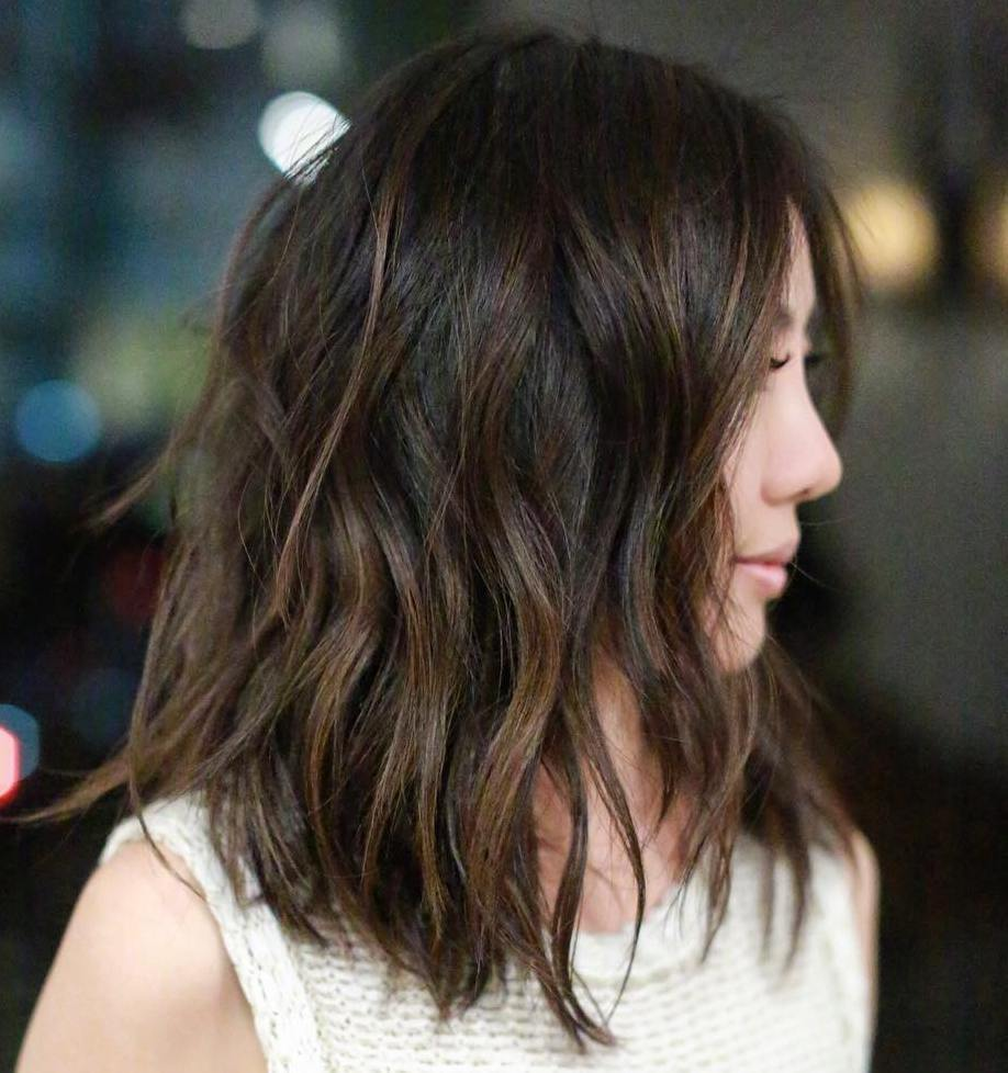 7 shoulder length brown balayage lob