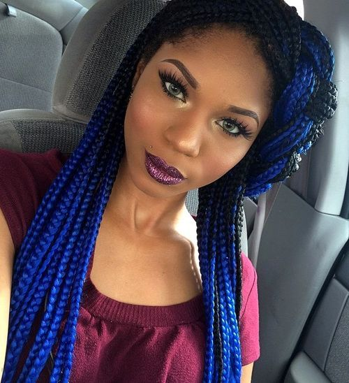 8 bright blue long box braids