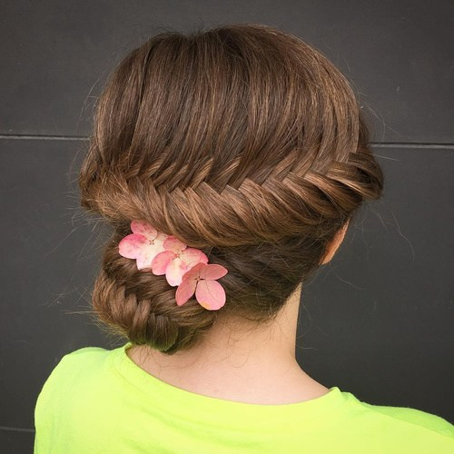 8 fishtail updo with hair flowers