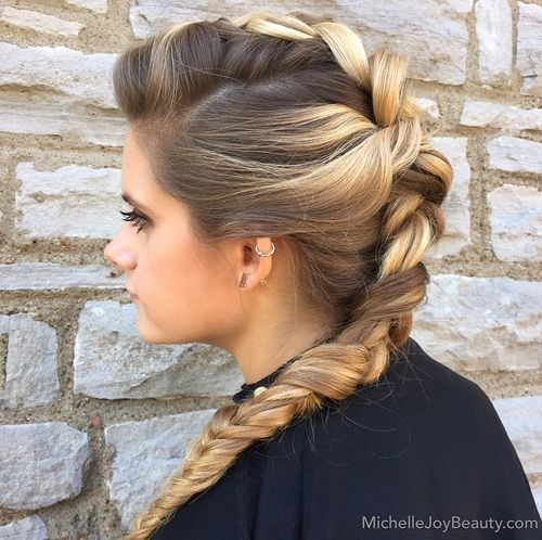8 french braid mohawk hairstyle for long hair