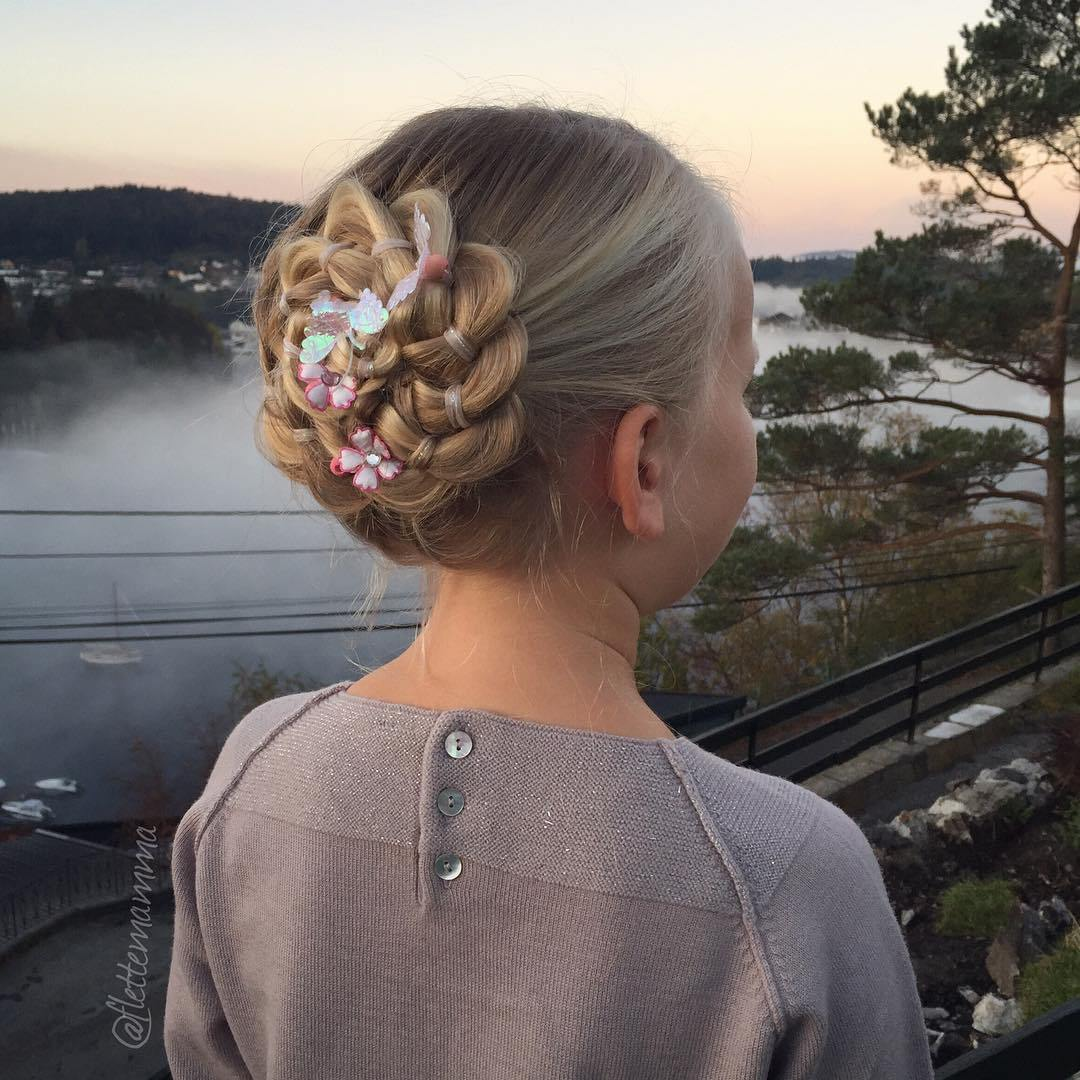 9 braided rosette updo for girls