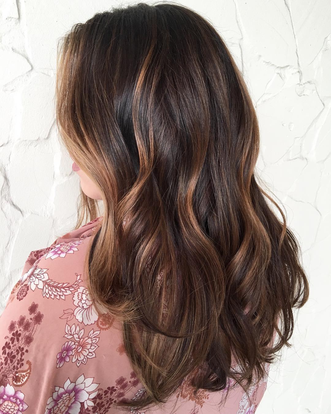 9 dark brown hair with caramel highlights
