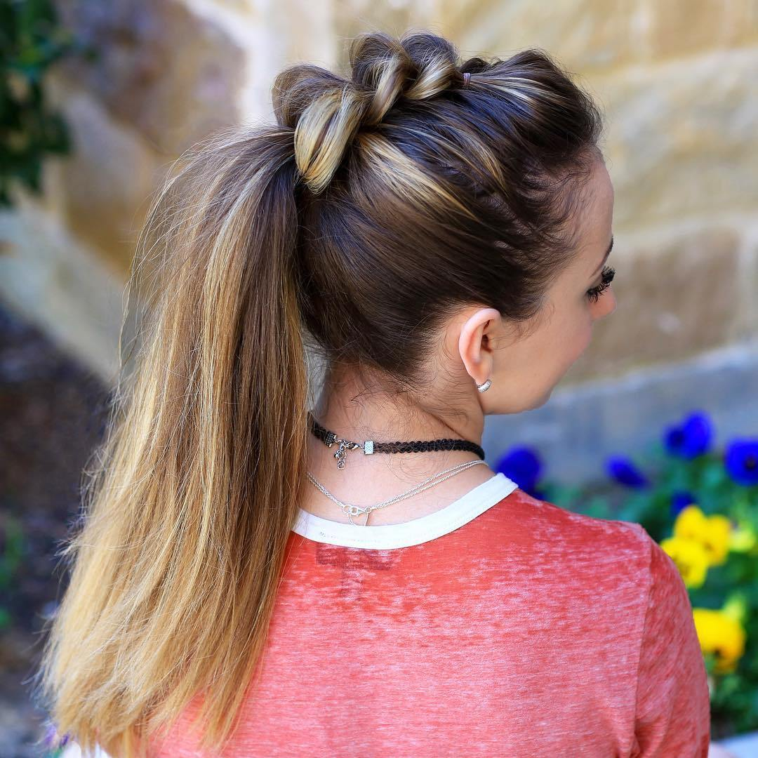 9 mohawk braid with a long ponytail