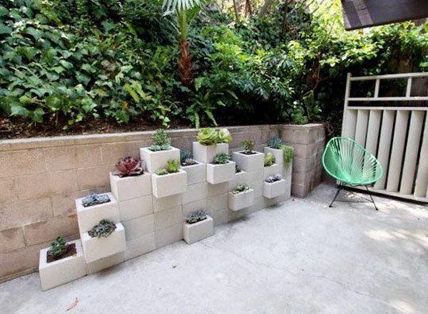 1 Concrete Block Vertical Planters
