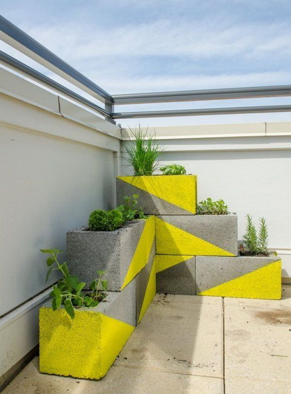 1 DIY Neon Concrete Block Planter