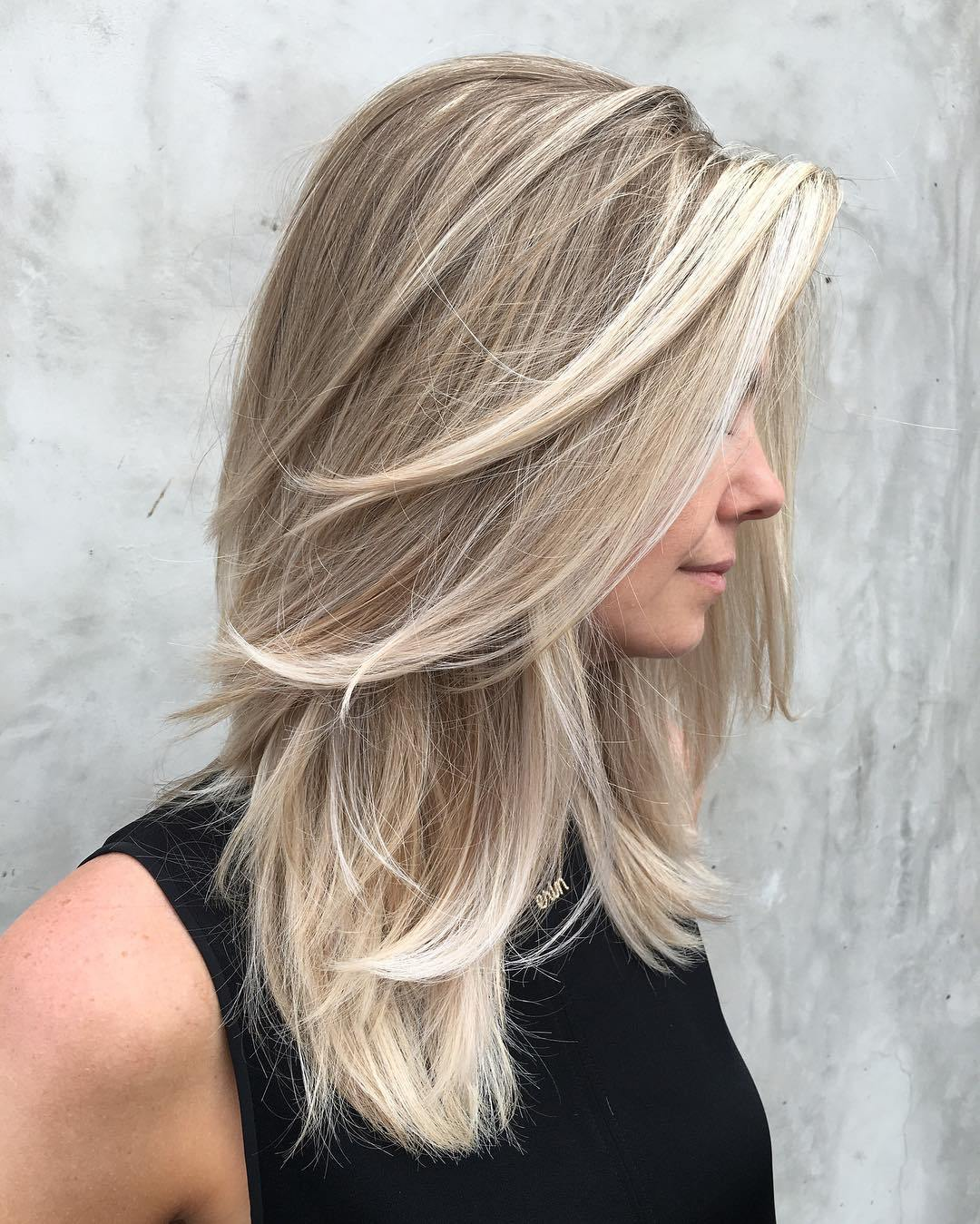 1 medium ash blonde balayage hairstyle