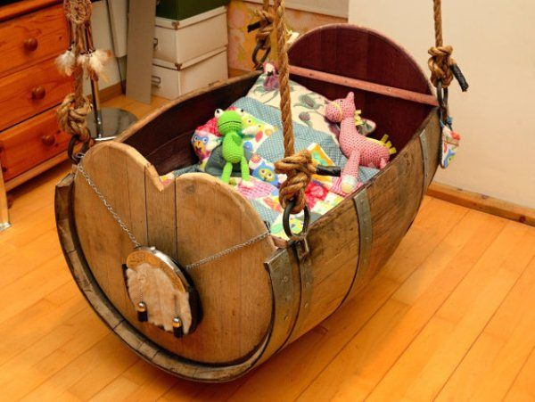 10 Baby Cradle Made from Old Wine Barrel