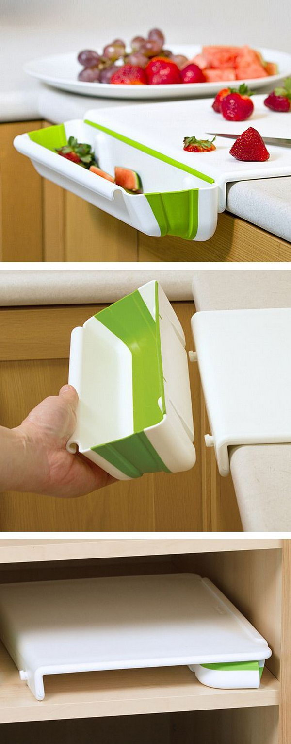 10 Cutting Board with a Collapsible Bin on the Side to Catch the Scraps