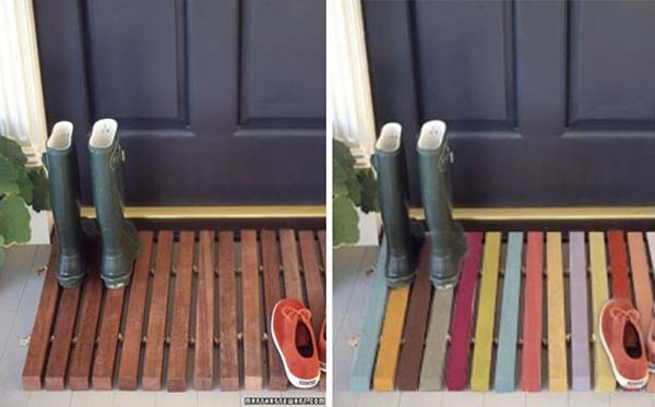 10 DIY Door Wooden Pallet Welcome Mat