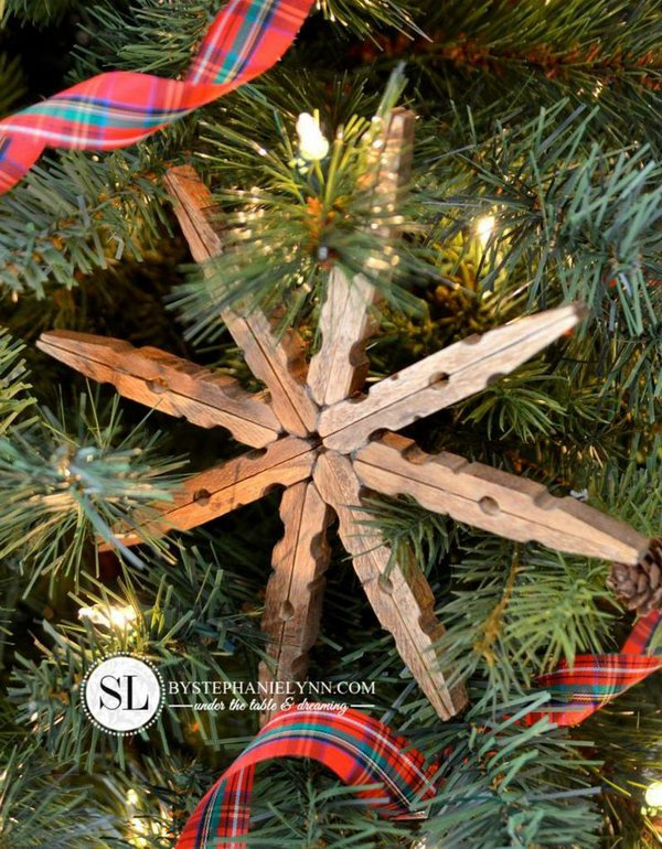 10 Wooden Clothespin Snowflake Ornaments