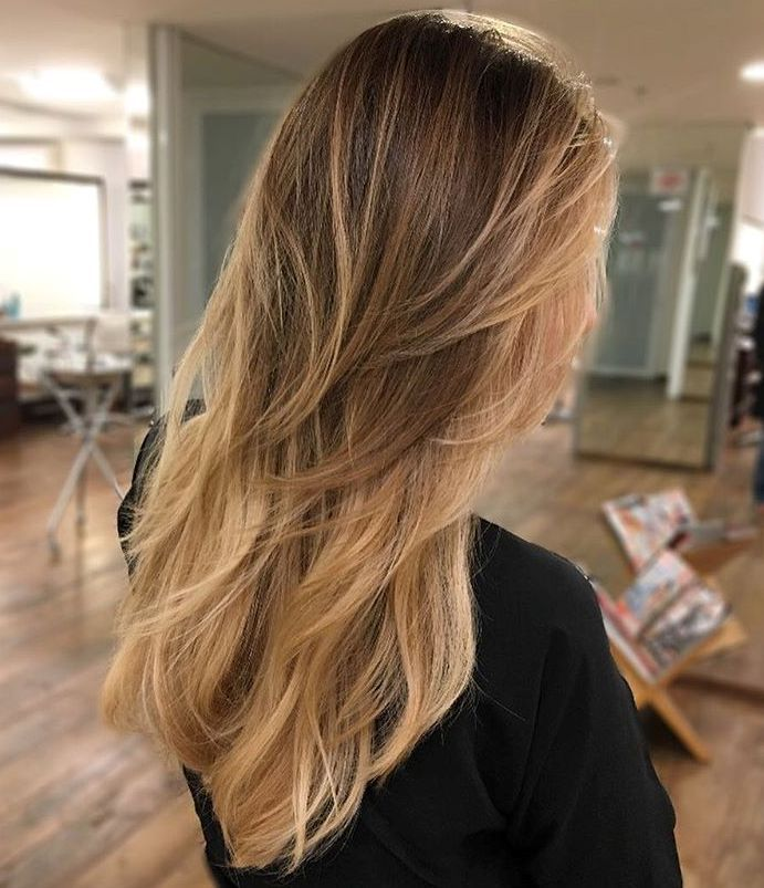 10 long layered hair with brown blonde ombre